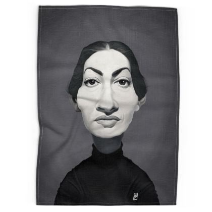 Maria Callas Celebrity Caricature Tea Towels