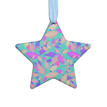 Hand Made Flat Ornaments, Turquoise, Pink, Leaf  Cathedral Leaves  Turquoise Sea