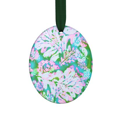 Hand Made Flat Ornaments, Turquoise, Pink, Leaf  Oaks  Marble