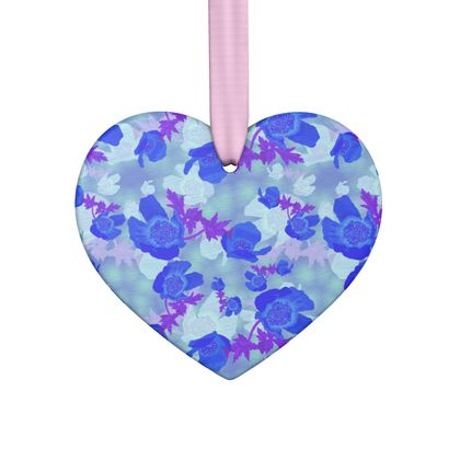 Hand Made Flat Ornaments, Blue, Mauve,  Flower  Blue Poppies