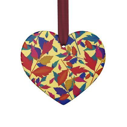 Hand Made Flat Ornaments, Orange, Turquoise, Leaf  Diamond Leaves  Cracker
