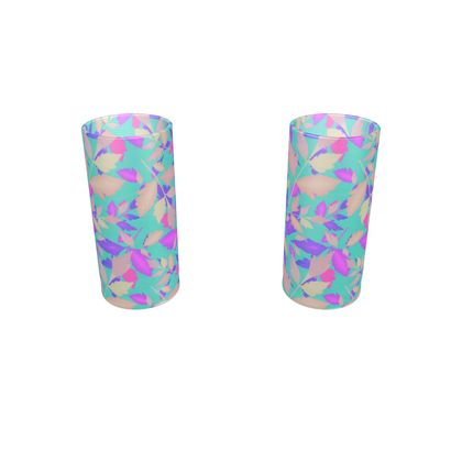 Round Shot Glass 2 Set, Turquoise, Pink, Leaf  Cathedral Leaves  Turquoise Sea