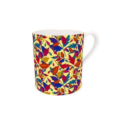 Bone China Mug, Orange, Blue, Leaf  Diamond Leaves  Cracker