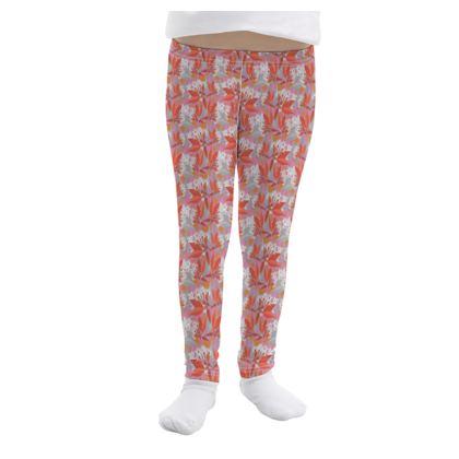 Girls Leggings, Red, Grey, Flower,  Jasmine  Warm Spice