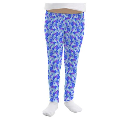 Girls Leggings, Blue, Mauve, Flower  Field Poppies  Blue Poppies