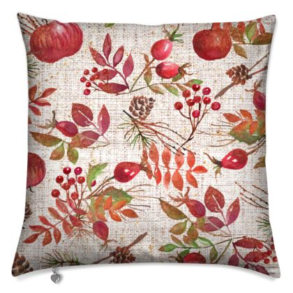 Fall - Cushions - watercolour autumn plants, red berries, hand-painted gift