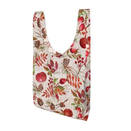 Fall - Parachute Shopping Bag - watercolour autumn plants, red berries, hand-painted nature