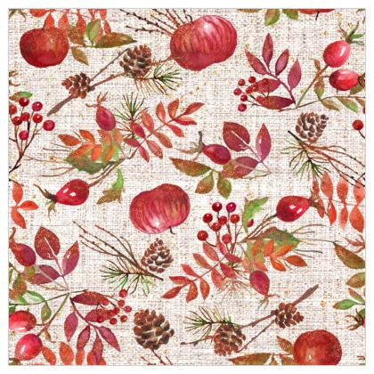 Fall - Fabric Printing - watercolour autumn plants, red berries, hand-painted nature