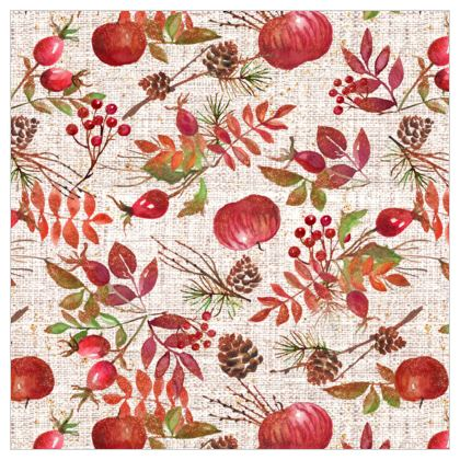 Fall - Leather Printing - watercolour autumn plants, red berries, hand-painted nature