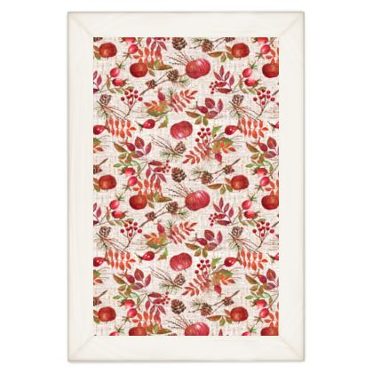 Fall - Quilts - watercolour autumn plants, red berries, hand-painted gift