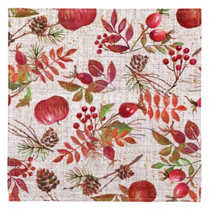 Fall - Napkins - watercolour gift, autumn plants, red, hand-painted nature