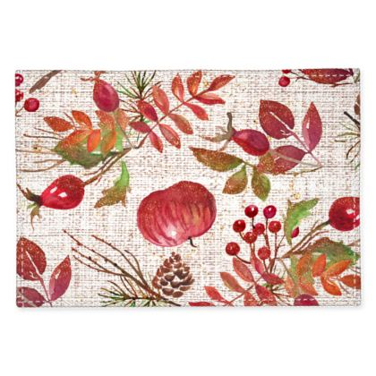 Fall - Fabric Placemats - watercolour gift autumn plants, red, hand-painted nature