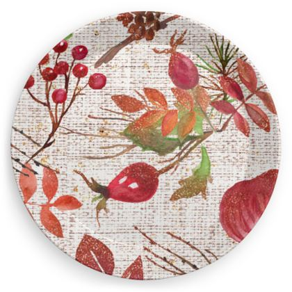 Fall - Party Plates - watercolour autumn plants, red berries, hand-painted nature