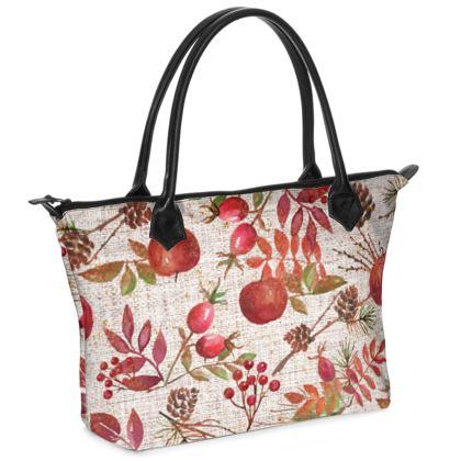 Fall - Zip Top Handbag - watercolour autumn gift, red berries, hand-painted nature