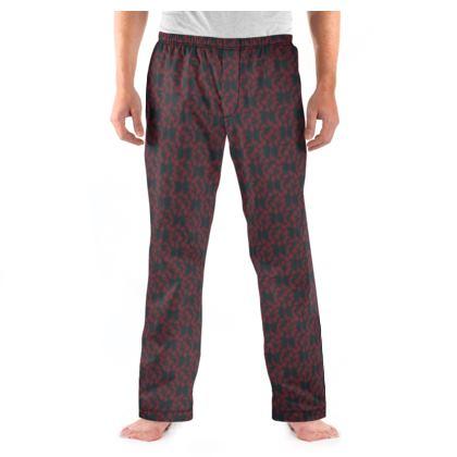 Autumnal Forest Pattern Burning Charcoal Men's Pyjama Bottoms