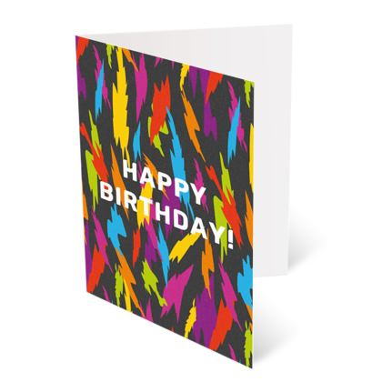 Abstract Party Poppers [Dark Grey] Happy Birthday Card