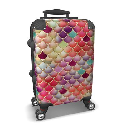 colorful mermaid scales suitcase