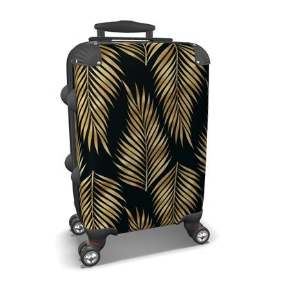Gold leaves suitcase