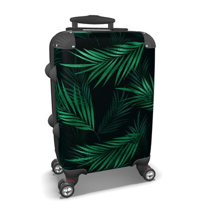 Green jungle leaves suitcase