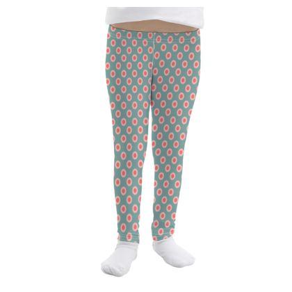 Strawberry meadow - Girls Leggings - kids turquoise pink green baby, children polka dots