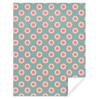 Strawberry meadow - Gift Wrap - turquoise pink green, vintage polka dots