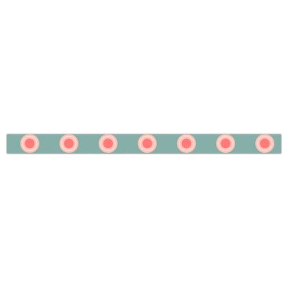 Strawberry meadow - Printed Ribbon - turquoise pink green, vintage polka dots