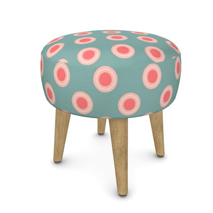 Strawberry meadow - Round Footstool - turquoise pink green, vintage polka dots