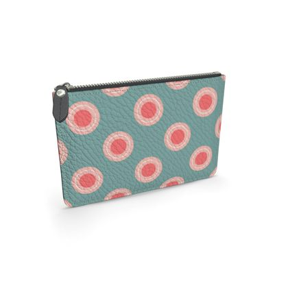 Strawberry meadow - Leather pouch - turquoise pink green, vintage polka dots