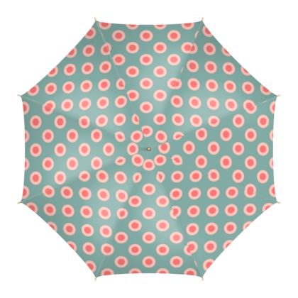 Strawberry meadow - Umbrella - turquoise pink green, vintage polka dots