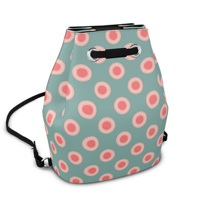 Strawberry meadow - Bucket Backpack - turquoise pink green, vintage polka dots