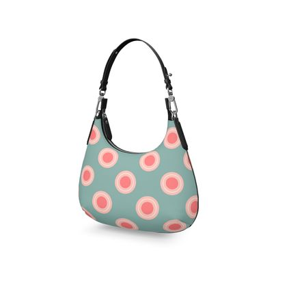 Strawberry meadow - Mini Curve Bag - turquoise pink green, vintage polka dots