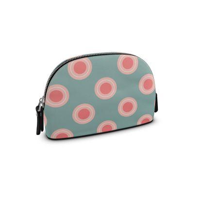 Strawberry meadow - Premium Nappa Make Up Bag - turquoise pink green, vintage polka dots