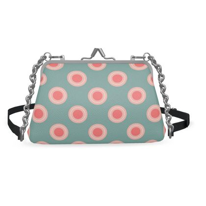 Strawberry meadow - Flat Frame Bag - turquoise pink green, vintage polka dots