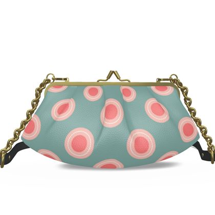 Strawberry meadow - Pleated Frame Bag - turquoise pink green, vintage polka dots