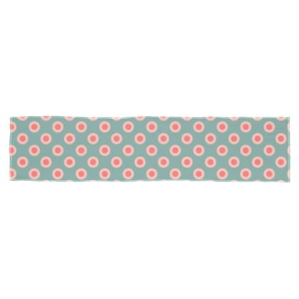 Strawberry meadow - Scarf Wrap or Shawl - turquoise pink green, vintage polka dots