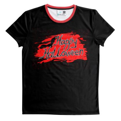 Happy Halloween - Cut And Sew All Over Print T Shirt - Scary gift bloody lettering, bat, black and red
