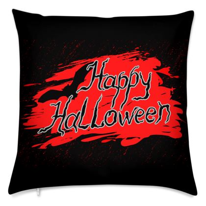 Happy Halloween - Cushions - Scary gift bloody lettering, bat, black and red