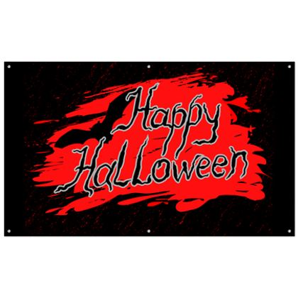Happy Halloween - Outdoor Banners - Scary gift bloody lettering, bat, black and red