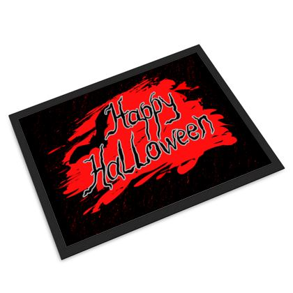 Happy Halloween - Door Mat - Scary gift bloody lettering, bat, black and red