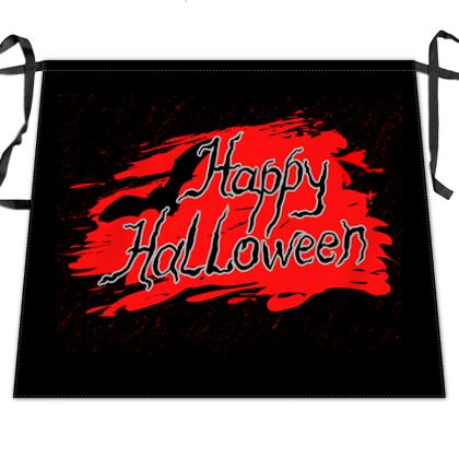 Happy Halloween - Waist Apron - Scary gift bloody lettering, bat, black and red