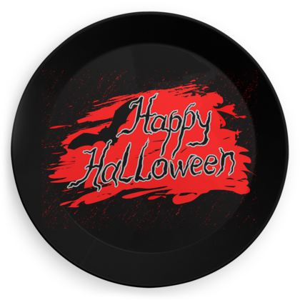 Happy Halloween - Party Plates - Scary gift bloody lettering, bat, black and red