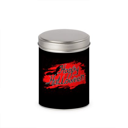 Happy Halloween - Cylinder Tins - Scary gift bloody lettering, bat, black and red