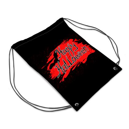 Happy Halloween - Drawstring PE Bag - Scary gift bloody lettering, bat, black and red