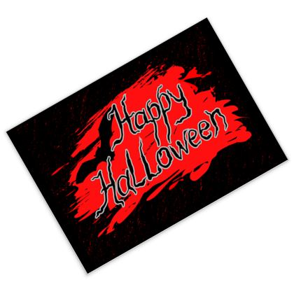Happy Halloween - Postcards - Scary gift bloody lettering, bat, black and red