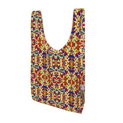 Parachute Shopping Bag, Cream, Turquoise, Orange Leaf  Diamond Leaves  Cracker