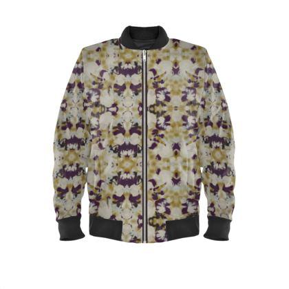Mens Bomber Jacket, Brown, Ivory, Flower  Field Poppies  Blackberry Latte
