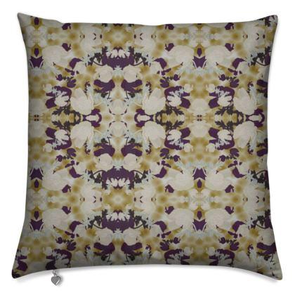 Cushions, Brown, Ivory, Flower  Field Poppies,  Blackberry Latte