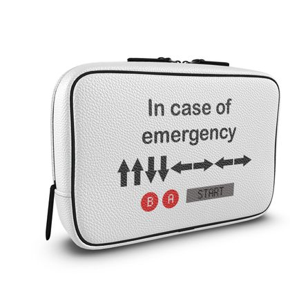 Mens Large Wash Bag - In Case of Emergency - Use Cheat Code 2 (Black Text)