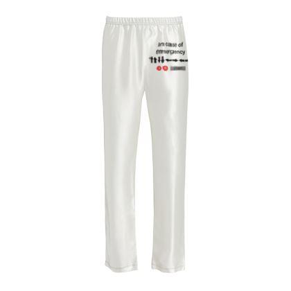 Ladies Silk Pyjama Bottoms - In Case of Emergency - Use Cheat Code 2 (Black Text)