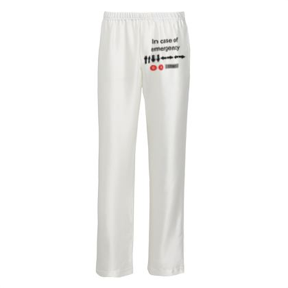 Mens Silk Pyjama Bottoms - In Case of Emergency - Use Cheat Code 2 (Black Text)